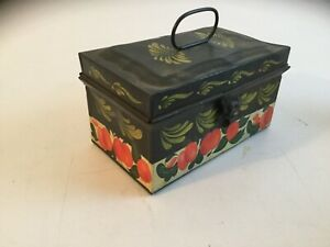 Antique Decorative Hand Painted Toleware Tin Document Box