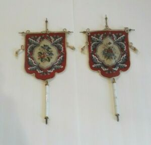 Pr Mid 19th C English Beaded Petti Point Needlework Face Screens