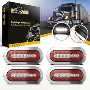 4x6 Red white 23 Led Truck Trailer Stainless Cover Stop Turn Tail Backup Lights