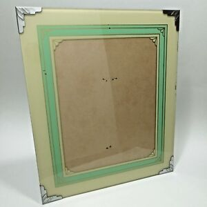 Vtg Art Deco Reverse Painted Glass Picture Frame 11x13 Green Cream