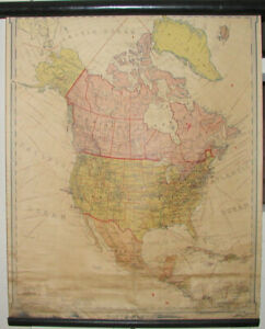 Vintage Old 1919 Denoyer Geppert Schoolroom Wall Map Of North America Roll Up