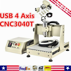 4 axis Cnc 3040 Router Engraver 800w Engraving Drilling Mill Carving Machine Us