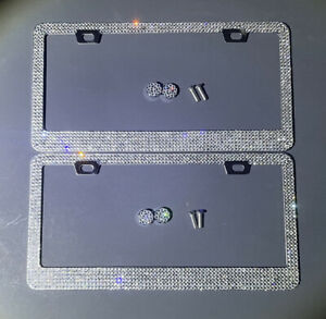 2 Made With Swarovski Crystal Metal License Plate Frame Caps Diamond Cover Bling