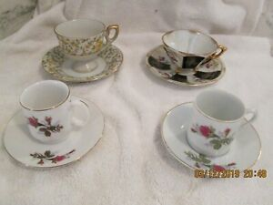 Lot Of 4 China Tea Cup And Saucer Sets Gold Accent Trim Napco Three Footed Mixed