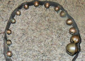 Antique Primitive Graduated Brass 14 Christmas Sleigh Bells On 4 Leather Strap