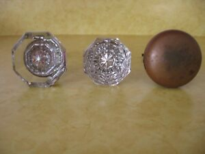 Lot Of 3 Vintage Antique Door Knobs 2 Glass 1 Brass A87