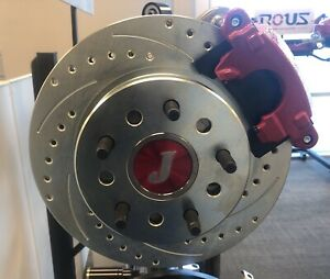 Ford 9 Inch S B Bearing Rear Disc Brake Kit Drilled Slotted Rotors Red E Brake