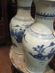 Antique Pair Of Chinese Porcelain Hand Painted Vases 23 5