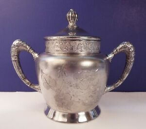 Antique New Haven Silver Plate Co Quadruple Plated Sugar Bowl With Lid C 1891