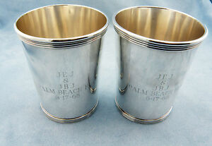 Very Rare Set Of 2 Vintage Alvin S251 Sterling Silver Mint Julep Cups W Mono