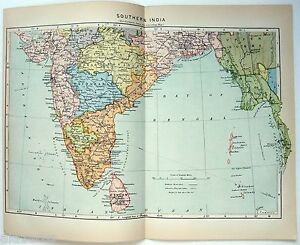 Original Johnson S 1896 Map Of Southern India Antique