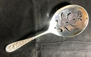 Stieff Sterling Silver Slotted Spoon Pea Spoon 8 Stieff Rose Pattern New