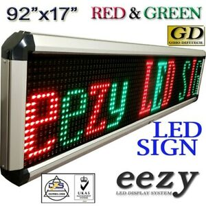 Eezy Led Sign 2colors Rg 92 x17 Outdoor Indoor Programmable Message Display