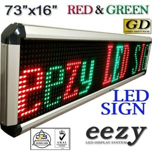 Eezy Led Sign 2colors 73 x16 Outdoor Indoor Programmable Message Display Banner