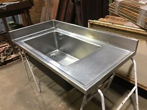 Large Stainless Steel Single Side Faucet Science Lab Sink Industrial Kitchen