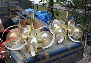 Vintage Atomic Space Age Hanging Lamp Chandelier Glass Globes Mcm Brass Hanging