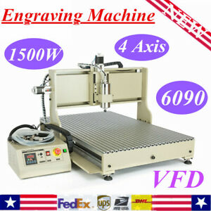 4 Axis 6090 Cnc Router 1500w Vfd Engraver Milling Machine Desktop Water cooling
