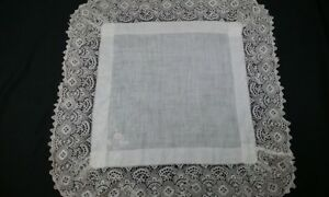 Antique Edwardian Victorian White Embroidered Layover Pillow Sham