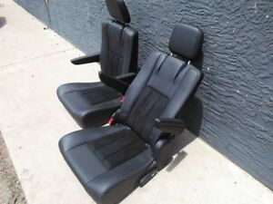 Black Leather Bucket Seats Pair Hotrod Jeep Truck Van Bus Humvee Weekend Sale