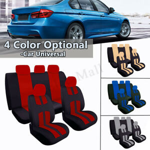 Universal Full Set Car Seat Covers For Truck Suv 5 Heads Beige Blue Red Gray