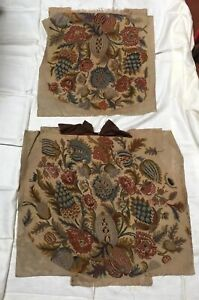 Antique Large Unused Needlepoint Chair Bench Pillow Cover Set Floral