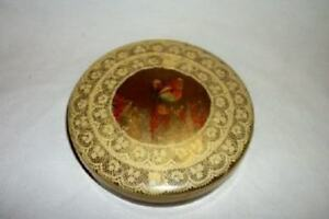 Antique Celluloid Powder Vanity Box Dried Flowers Butterfly Lace Chic Shabby Old