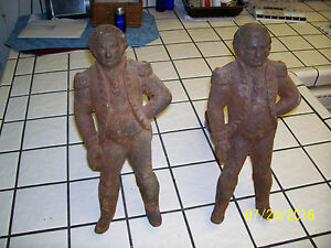 Antique Late 1800 S Pair Cast Iron George Washington Andirons Fire Dogs