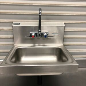 Wall Mount Hand Sink With Faucet Commercial Nsf Stainless Steel Tabco 9592