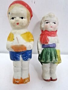 Vintage Antique Small Boy And Girl Bisque Figurines Japan