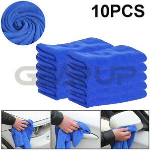 10x Towel Car Washing Clean Absorbent Microfiber Home Kitchen Wash Cloth Blue