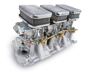 Holley 300 522 Small Block Chevy 6 Pack Carb Intake Kit Shiny Carbs