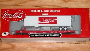 ATHEARN 8301 COCA COLA TRAIN COLLECTION SERIES 50' FLAT CAR WITH 40' TRAILER