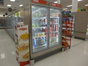 Hussmann Rln 2 Reachin Glass Display Freezer Cooler Grocery Frozen Ice Cream Led