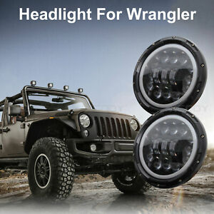 2pcs 400w Round 7 Inch Led Headlight H L Beam Fit For Jeep Wrangler Jk Tj