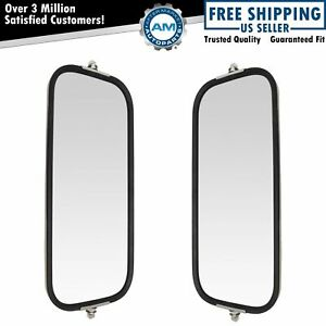 West Coast Mirror Peaked Back 16x7 Stainless Steel Pair Set For Heavy Duty Truck