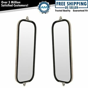 West Coast Mirror Ribbed Back 16x7 Stainless Steel Pair Set For Heavy Duty Truck