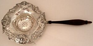 Rare Art Nouveau Kerr Hammered Sterling Martele Applied Poppy Tea Strainer 1905