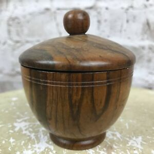 Vintage Miniature Round Turned Wood Bowl With Lid Small 2 1 4 Diameter