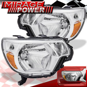 For 2012 2013 2014 2015 Toyota Tacoma Pickup Clear Headlights Amber Reflector