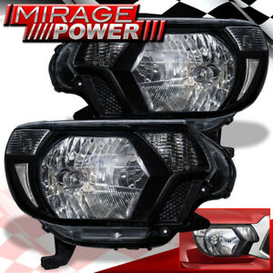 For 2012 2013 2014 2015 Toyota Tacoma Pickup Black Headlights Clear Reflector