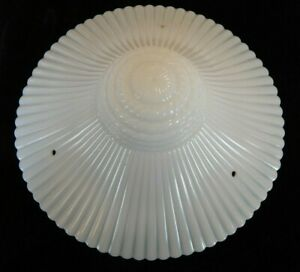 Vintage Ribbed Opalescent Milk Glass Ceiling Light Shade 11 3 4 Art Deco Glass