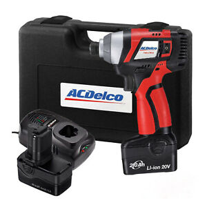 Acdelco 1 4 Impact Driver 20v Tool Kit With Two Battery A20 Series Ari20155
