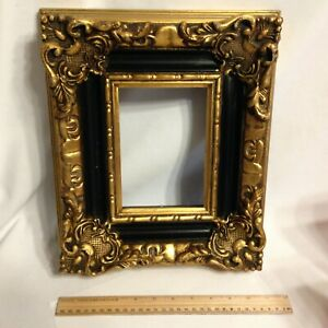 Vintage Gold Black Ornate Heavy Thick 11 X 13 Picture Frame Open 6x4 Opening
