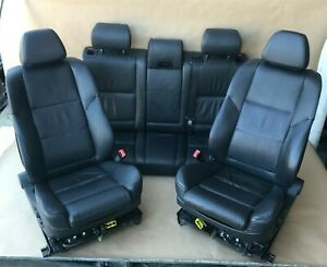 2004 2010 Bmw E60 525i 530i 545i Front Rear Black Leather Seats Complete Set