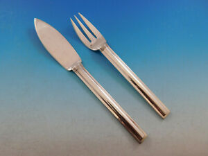 Cannes By Puiforcat France Sterling Silver Flatware Individual Fish Set 2 Pc