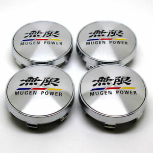 4pcs 60mm Car Mugen Power Racing Wheel Center Caps Hub Caps Silver Emblem Badg