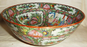C1860 1880 Rose Medallion Fine Chinese Hand Painted 8 Bowl