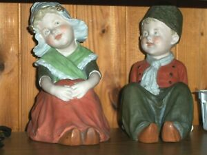Antique Gebruder Heubach Piano Babies 8 Dutch Pair Starburst Mark 1890 1910