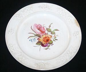 Antique Hand Painted English Porcelain Longton Hall Floral Plate Pearlware