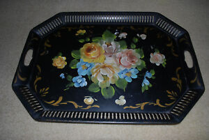 1940s Hand Painted Large Table Size Reticulated Tole Tray Beautiful Roses